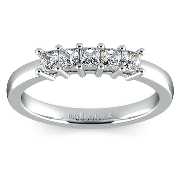 Princess Five Diamond Wedding Ring in White Gold (1/2 ctw) | 02