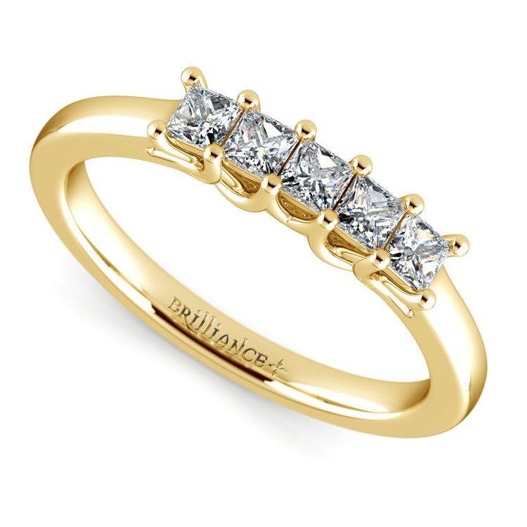 Princess Trellis Diamond Wedding Ring in Yellow Gold (1/2 ctw) | 01