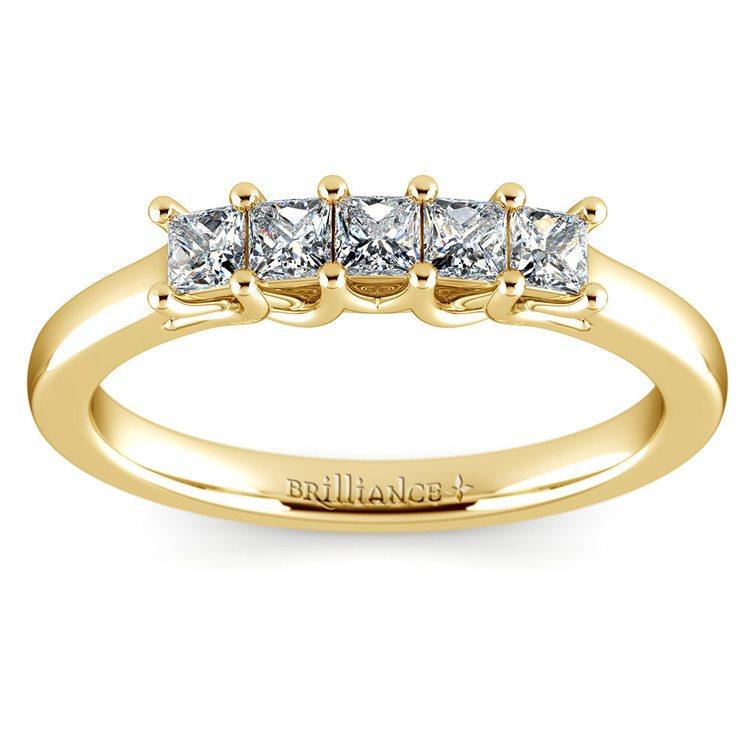Princess Trellis Diamond Wedding Ring in Yellow Gold (1/2 ctw) | 02