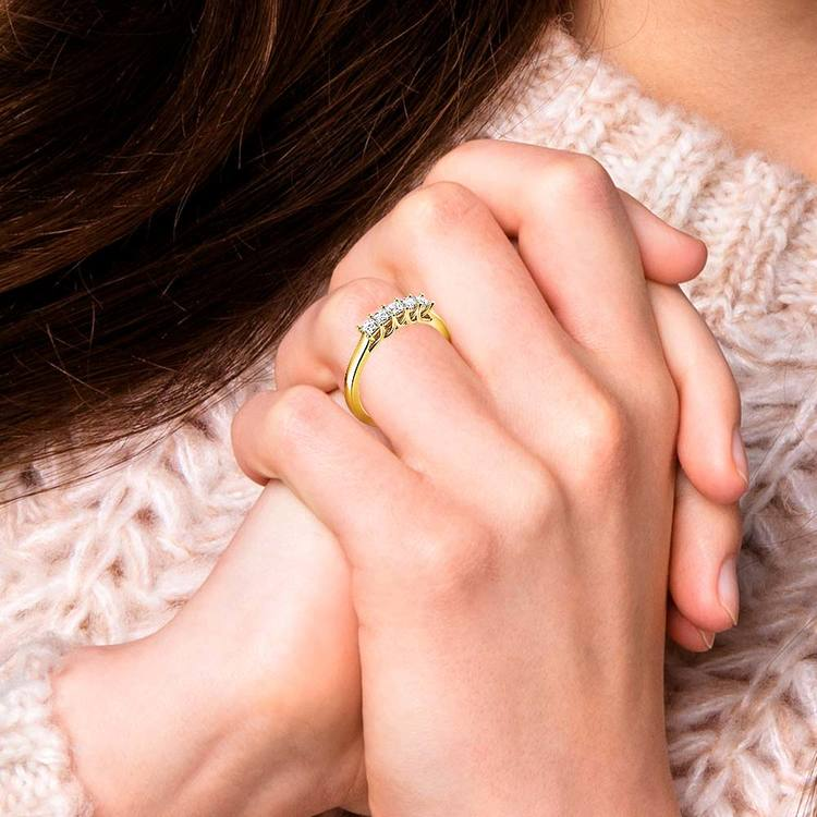 Princess Trellis Diamond Wedding Ring in Yellow Gold (1/2 ctw) | 07