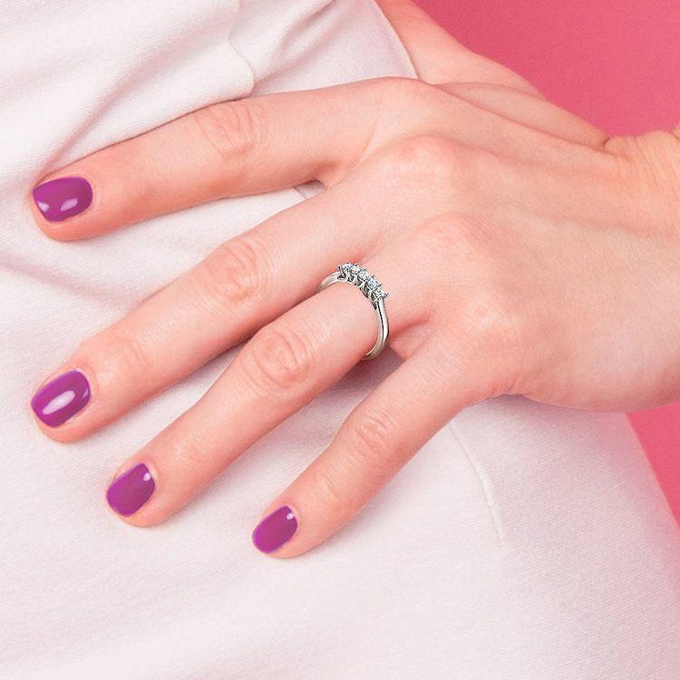 Princess Trellis Diamond Wedding Ring in Platinum (1 ctw)   07