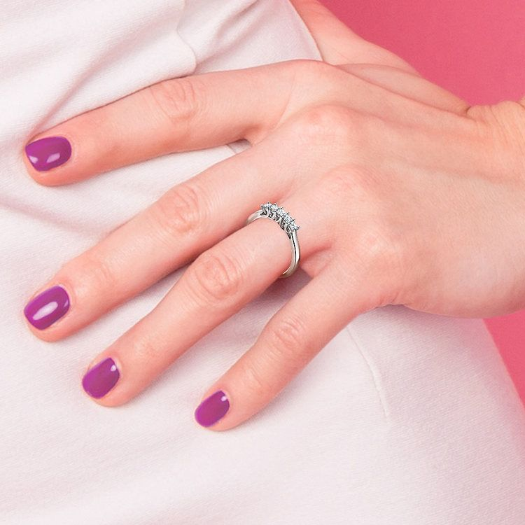 Princess Trellis Diamond Wedding Ring in White Gold (1 ctw) | 07