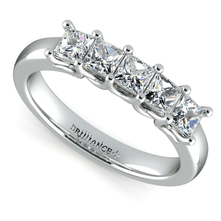 Princess Trellis Diamond Wedding Ring in White Gold (1 ctw) | 01