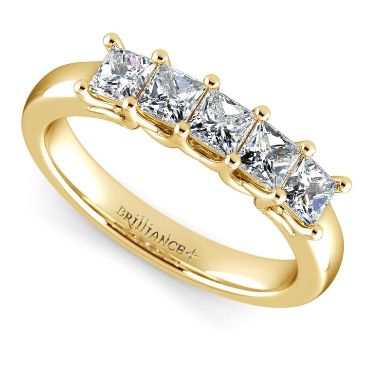Princess Trellis Diamond Wedding Ring in Yellow Gold (1 ctw)   01