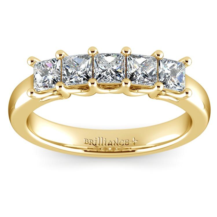 Princess Trellis Diamond Wedding Ring in Yellow Gold (1 ctw)   02