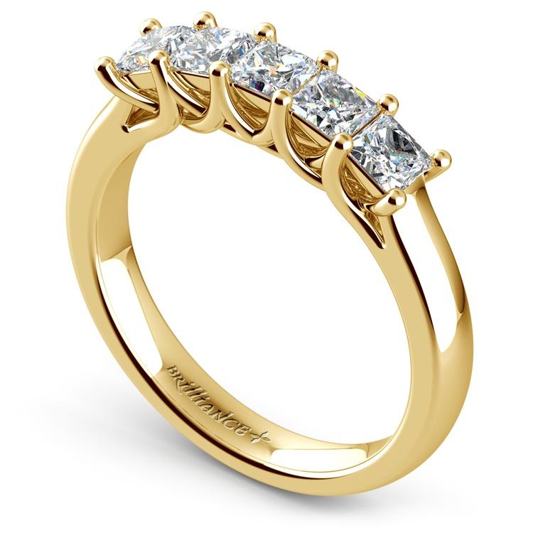 Princess Trellis Diamond Wedding Ring in Yellow Gold (1 ctw)   04