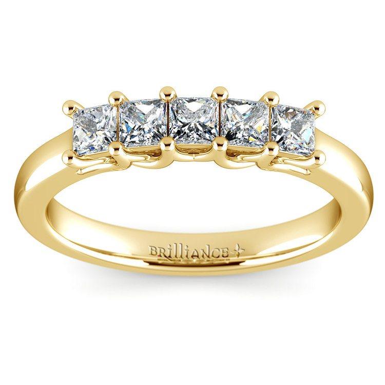 Princess Trellis Diamond Wedding Ring in Yellow Gold (3/4 ctw) | 02