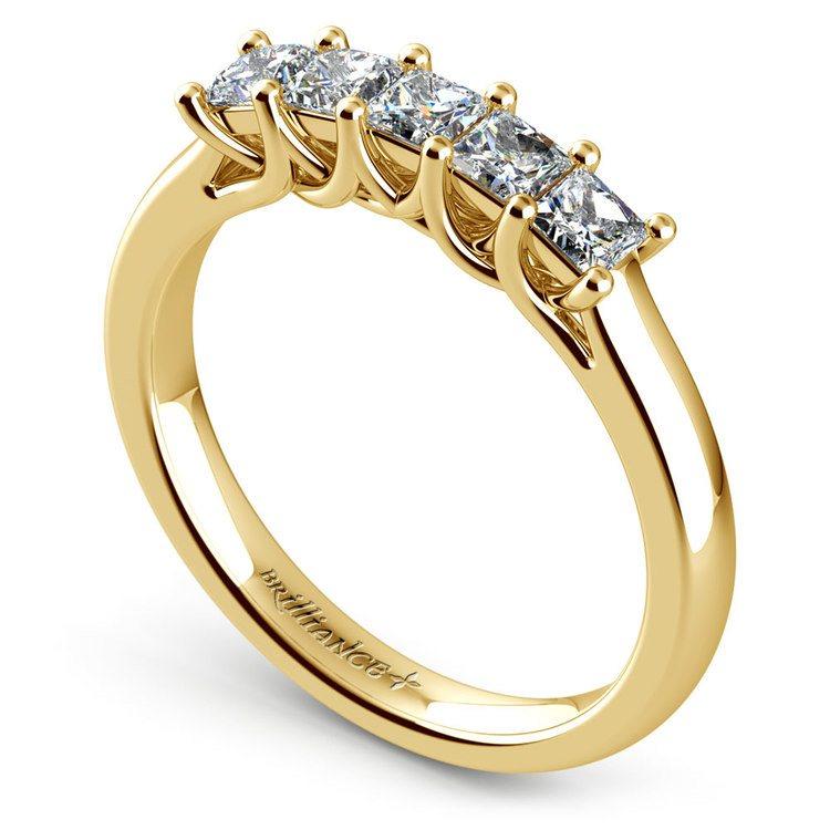 Princess Trellis Diamond Wedding Ring in Yellow Gold (3/4 ctw) | 04