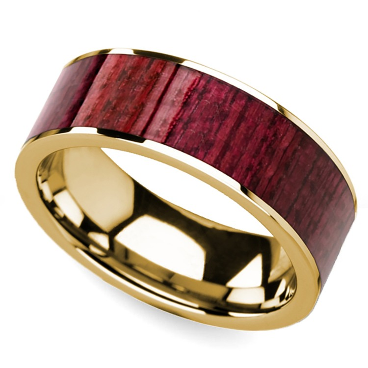 Purpleheart Wood Inlay Men's Wedding Ring in Yellow Gold | 01