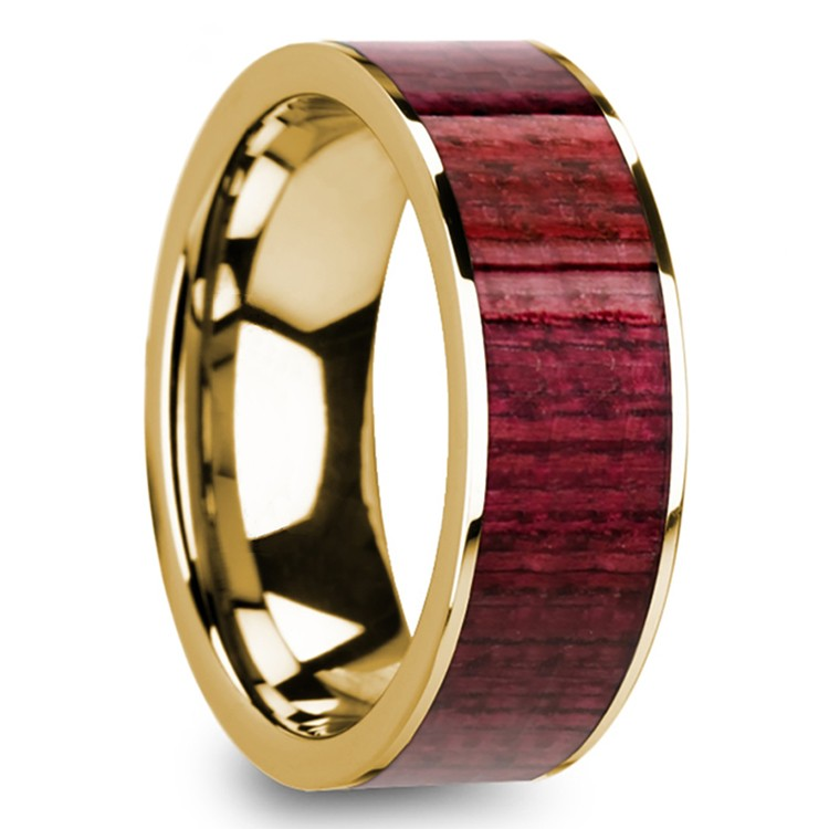 Purpleheart Wood Inlay Men's Wedding Ring in Yellow Gold | 02