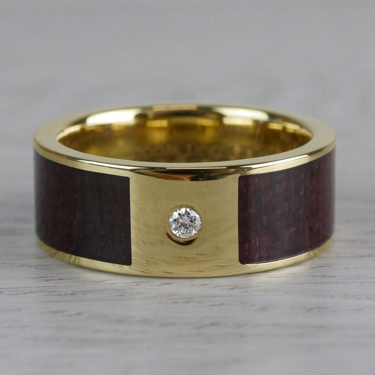 Purpleheart Inlaid Men's Wedding Band with Diamond in Yellow Gold | 03