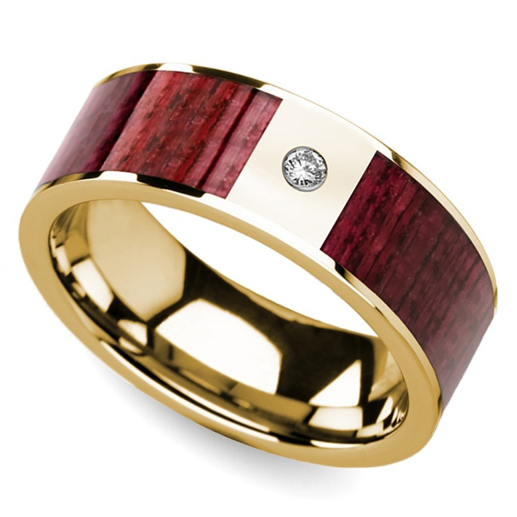 Purpleheart Inlaid Men's Wedding Band with Diamond in Yellow Gold | 01