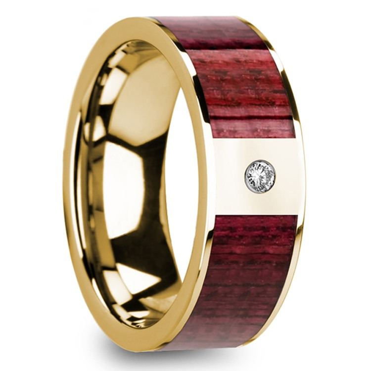 Purpleheart Inlaid Men's Wedding Band with Diamond in Yellow Gold | 02
