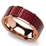 Purpleheart Wood Inlay Men's Wedding Band in Rose Gold | Thumbnail 01