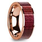 Purpleheart Wood Inlay Men's Wedding Band in Rose Gold | Thumbnail 02