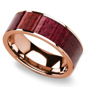 Purpleheart Wood Inlay Men's Wedding Band in Rose Gold