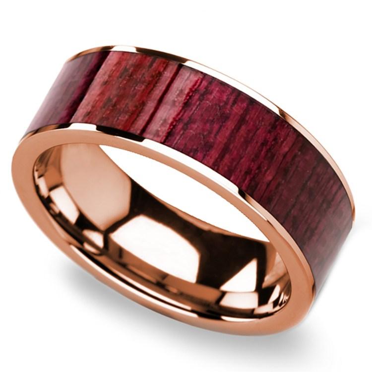 Purpleheart Wood Inlay Men's Wedding Band in Rose Gold | 01