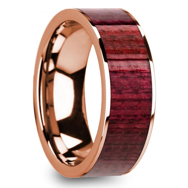 Purpleheart Wood Inlay Men's Wedding Band in Rose Gold | 02