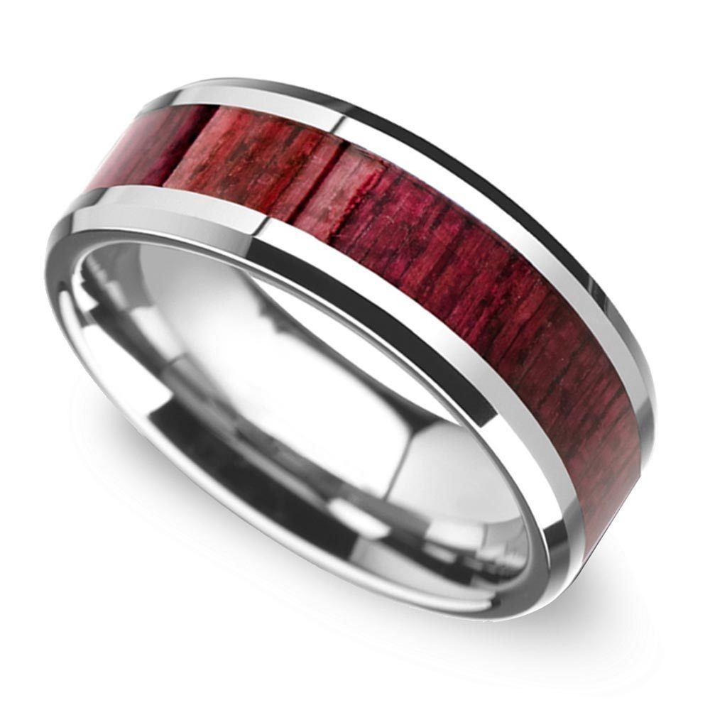 purpleheart wood inlay mens wedding ring tungsten mens wedding rings wood