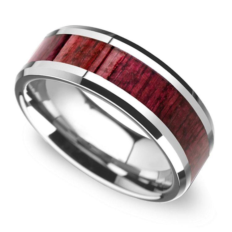 Deep Rooted - Tungsten Mens Band with Purpleheart Wood Inlay | 01