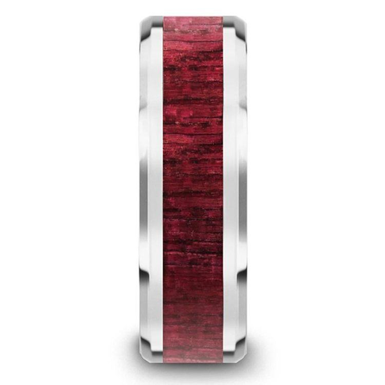 Deep Rooted - Tungsten Mens Band with Purpleheart Wood Inlay | 03