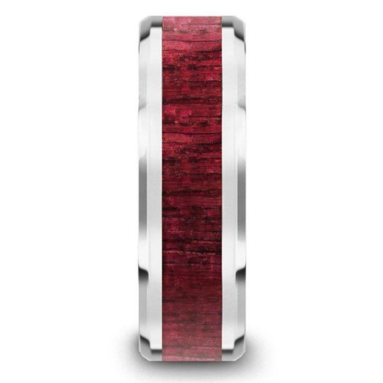 Purpleheart Wood Inlay Men's Wedding Ring in Tungsten | 03