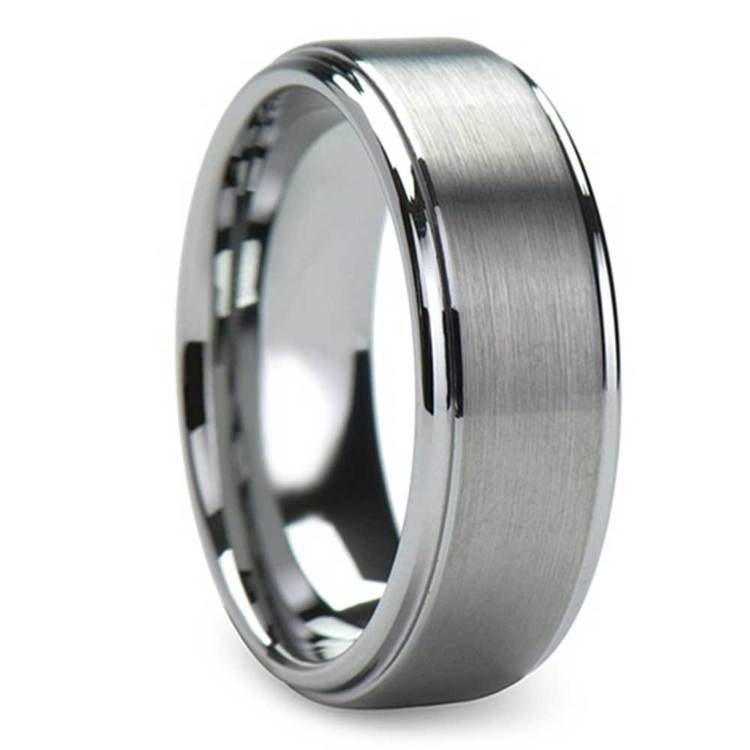 Raised Centered Carbide Tungsten Mens Wedding Ring with Brushed Finish (8mm) | 02