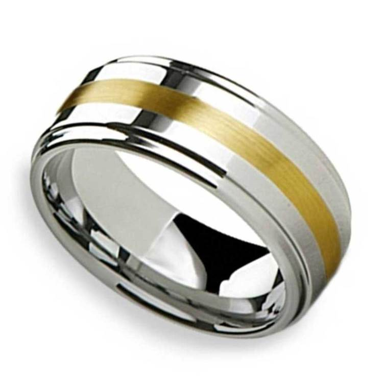 Raised Tungsten Mens Band with 14K Yellow Gold Inlay | 01