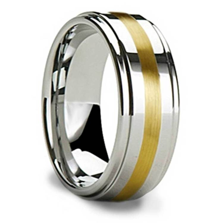Raised Tungsten Mens Band with 14K Yellow Gold Inlay | 02