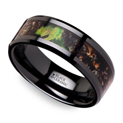 realistic leaf camo mens wedding ring in ceramic - Ceramic Wedding Rings