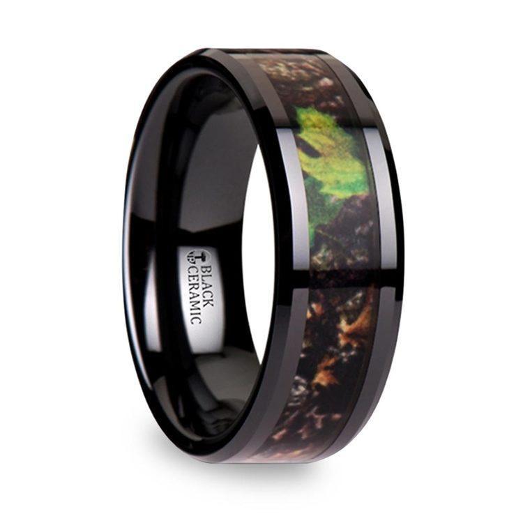 realistic leaf camo mens wedding ring in ceramic