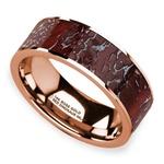 Red Dinosaur Bone Inlay Men's Wedding Ring in 14K Rose Gold | Thumbnail 01