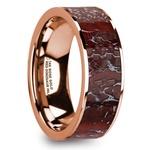 Red Dinosaur Bone Inlay Men's Wedding Ring in 14K Rose Gold | Thumbnail 02