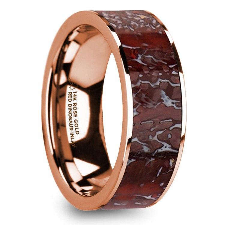 Red Dinosaur Bone Inlay Men's Wedding Ring in 14K Rose Gold | 02