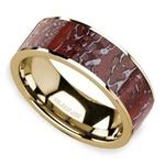 Red Dinosaur Bone Inlay Men's Wedding Ring in 14K Yellow Gold | Thumbnail 01