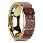 Red Dinosaur Bone Inlay Men's Wedding Ring in 14K Yellow Gold | Thumbnail 02