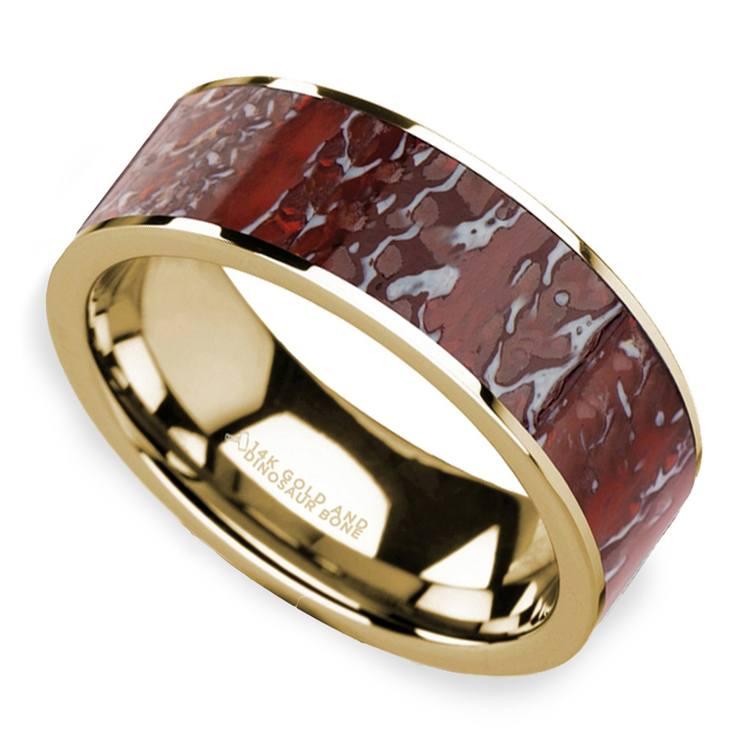 Red Dinosaur Bone Inlay Men's Wedding Ring in 14K Yellow Gold | 01