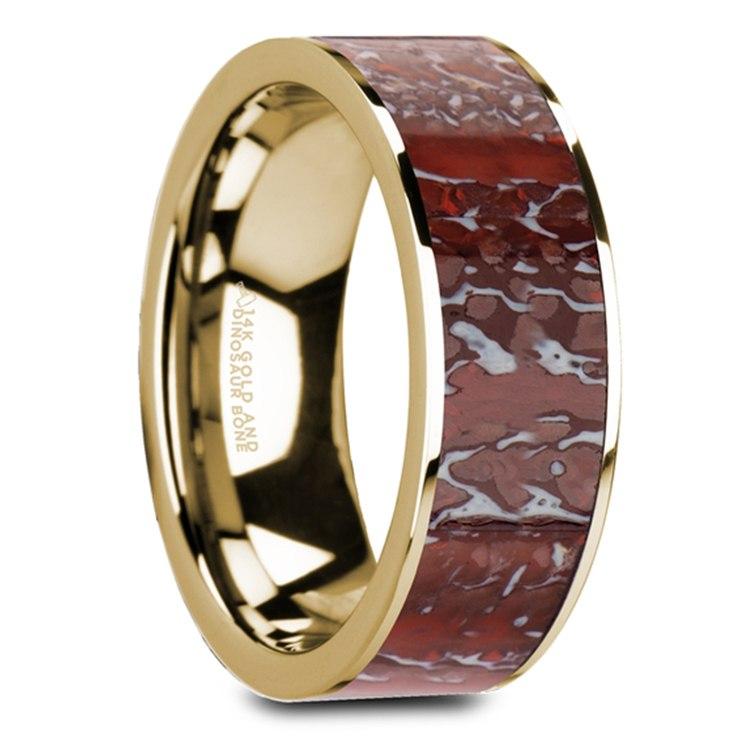 Red Dinosaur Bone Inlay Men's Wedding Ring in 14K Yellow Gold | 02