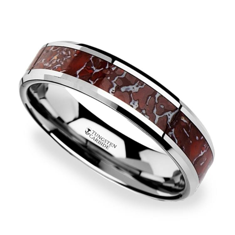 Red Dinosaur Bone Inlay Wedding Ring In Tungsten (4mm) | 01