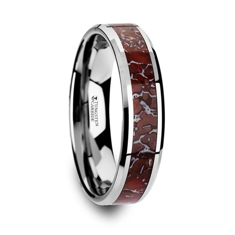 Red Dinosaur Bone Inlay Wedding Ring In Tungsten (4mm) | 02