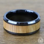 Red Oak Wood Inlay Men's Beveled Ring in Black Ceramic (10mm) | Thumbnail 04
