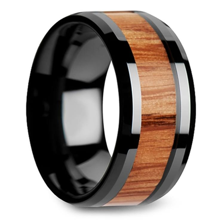 Red Oak Wood Inlay Men's Beveled Ring in Black Ceramic (10mm) | 02