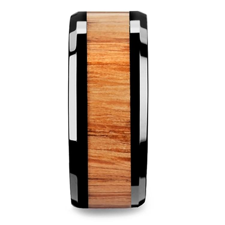 Red Oak Wood Inlay Men's Beveled Ring in Black Ceramic (10mm) | 03