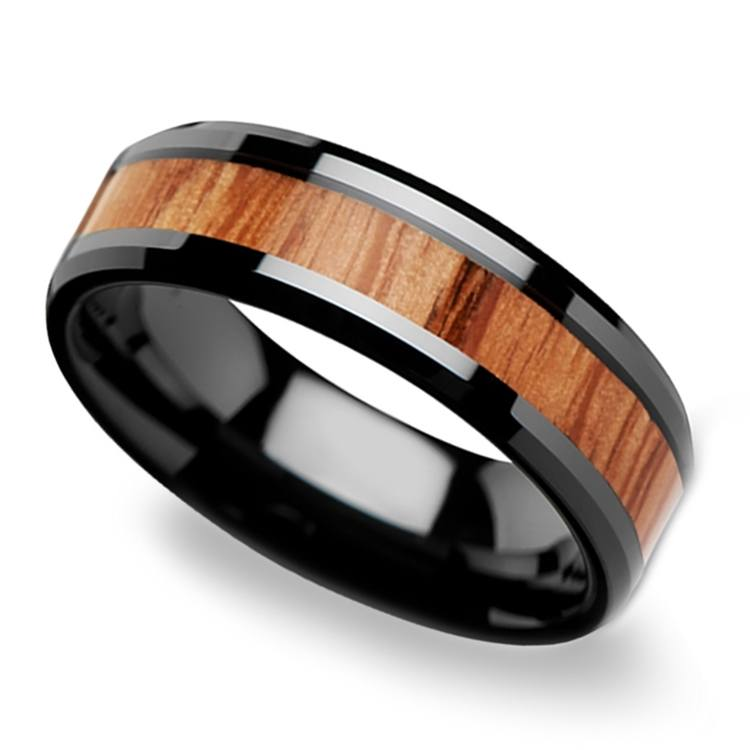 Red Oak Wood Inlay Men's Beveled Ring in Black Ceramic (6mm) | 01