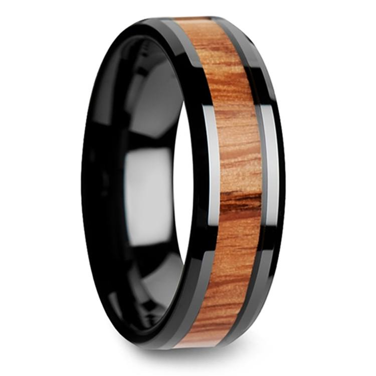 Red Oak Wood Inlay Men's Beveled Ring in Black Ceramic (6mm) | 02