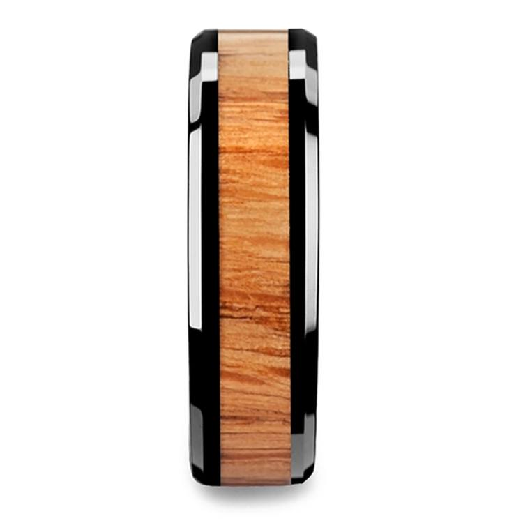 Red Oak Wood Inlay Men's Beveled Ring in Black Ceramic (6mm) | 03