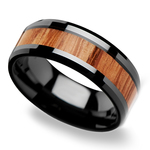 The Rogue - Beveled Black Ceramic Mens Band with Red Oak Inlay | Thumbnail 01