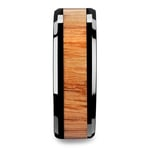The Rogue - Beveled Black Ceramic Mens Band with Red Oak Inlay | Thumbnail 03
