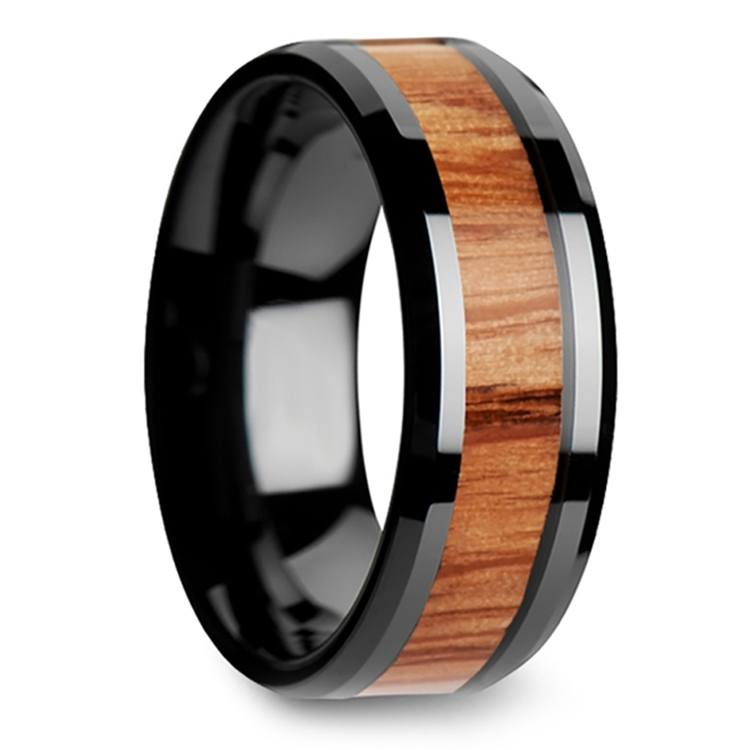 The Rogue - Beveled Black Ceramic Mens Band with Red Oak Inlay | 02
