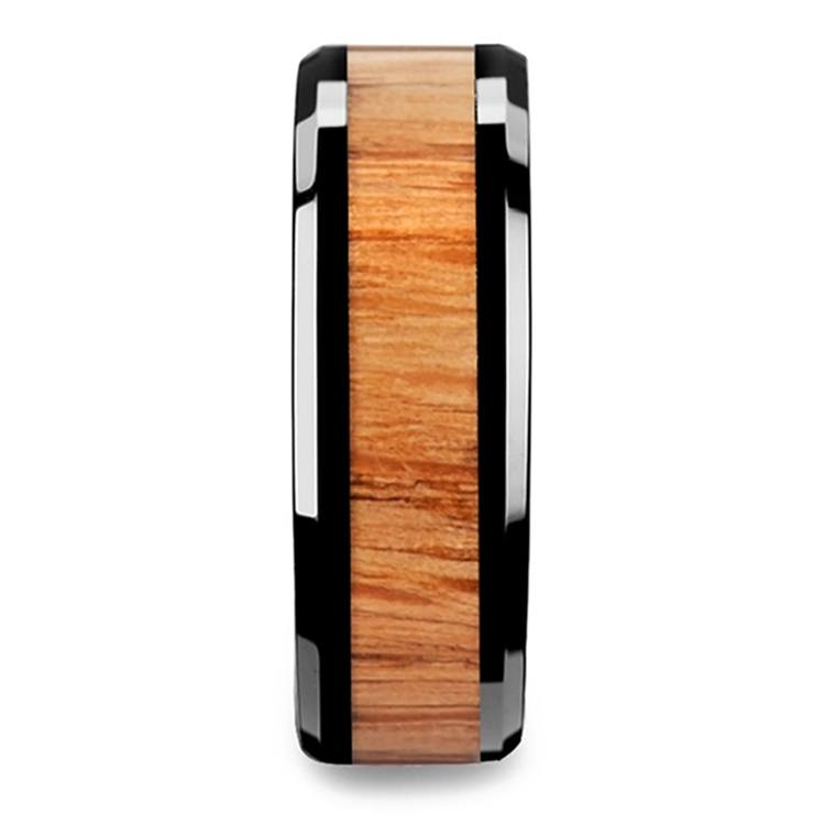 The Rogue - Beveled Black Ceramic Mens Band with Red Oak Inlay | 03